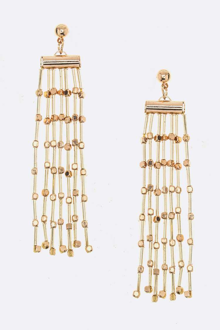 FRINGE BEAD LAYER EARRINGS