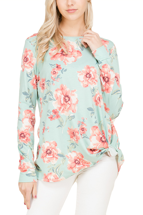 FLORAL PRINT LONG SLEEVE FRENCH TERRY TOP WITH SIDE TWIST